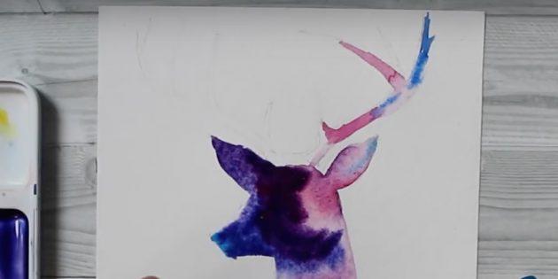 Добавьте фиолетовый цвет на голову оленя