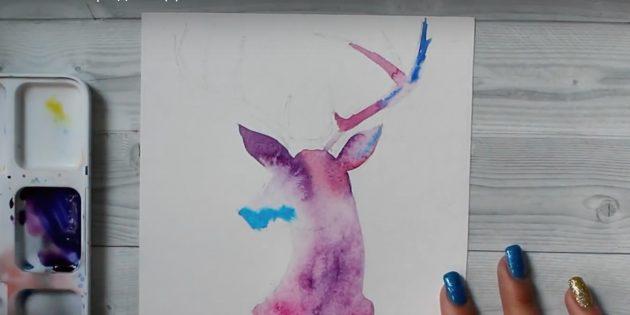 Как рисовать оленя: добавьте краску на кончик рога