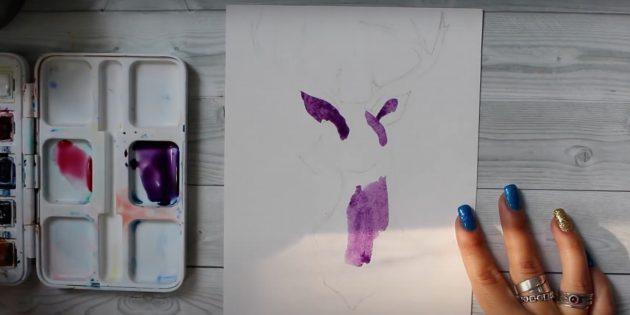 Нанесите фиолетовую краску