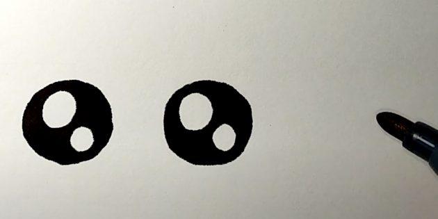 Как нарисовать зайца: нарисуйте глаза