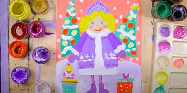 Как нарисовать Снегурочку гуашью на цветном фоне