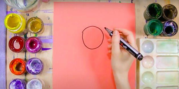 Как нарисовать Снегурочку: нарисуйте круг
