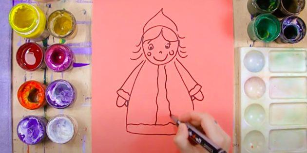 Как нарисовать Снегурочку: нарисуйте шубку