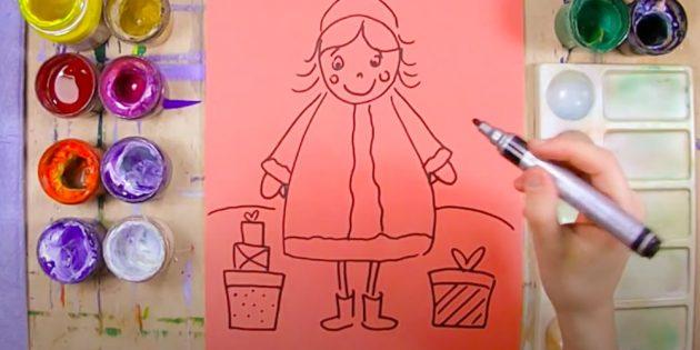 Как нарисовать Снегурочку: обозначьте ноги, горизонт и подарки