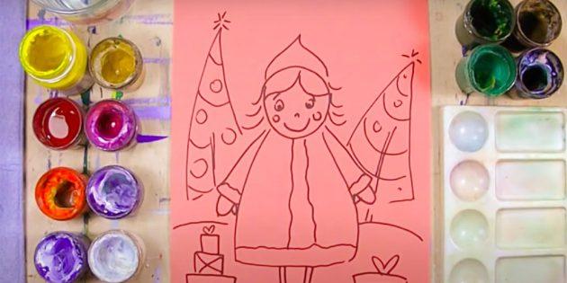 Как нарисовать Снегурочку: нарисуйте елочки