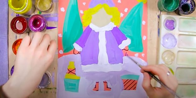Как нарисовать Снегурочку: изобразите сугробы