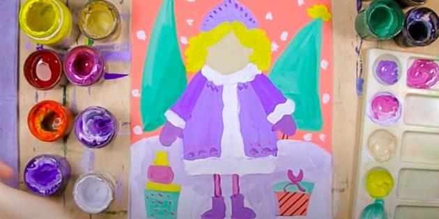 Как нарисовать Снегурочку: нарисуйте варежки, ноги и сапожки