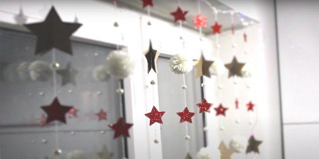Украшение окон на Новый год: гирлянда на окно