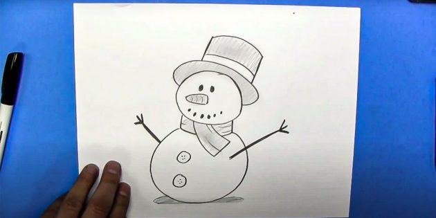 Как нарисовать снеговика: нарисуйте вторую руку и тени