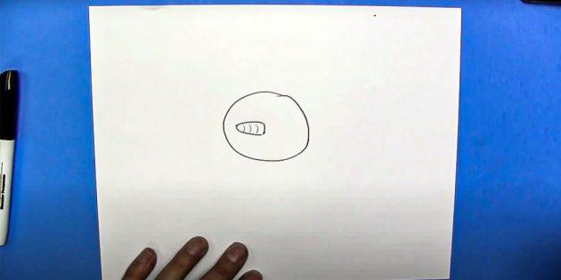 Как нарисовать снеговика: нарисуйте голову и нос