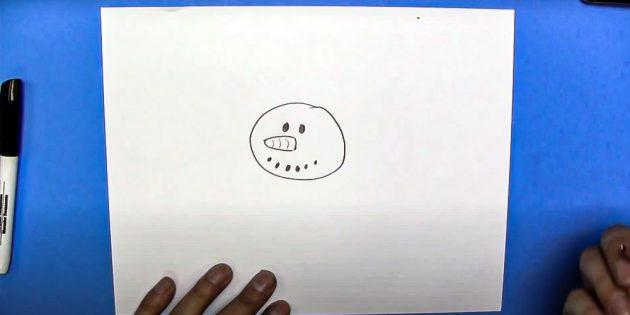 Как нарисовать снеговика: добавьте глаза и рот