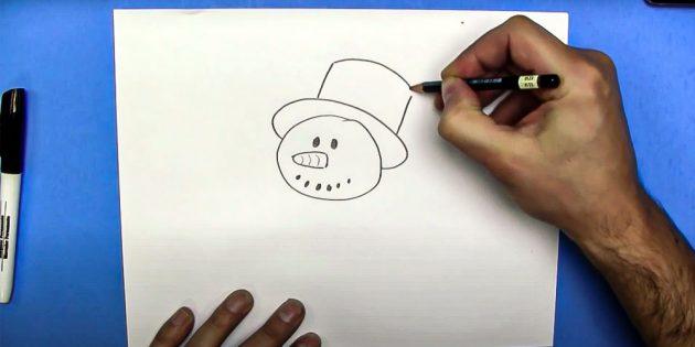 Как нарисовать снеговика: нарисуйте шляпу