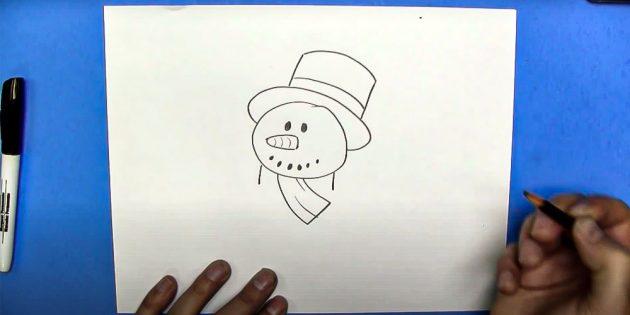 Как нарисовать снеговика: нарисуйте шарф
