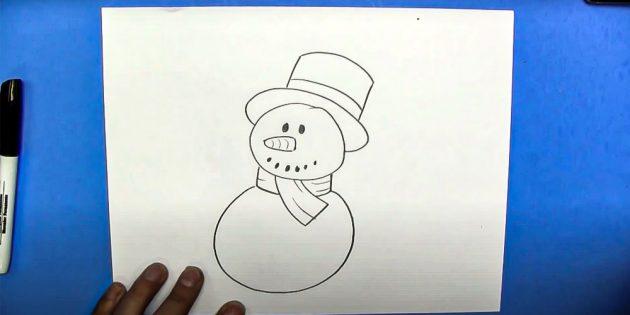 Как нарисовать снеговика: изобразите туловище