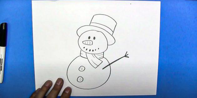 Как нарисовать снеговика: добавьте руку