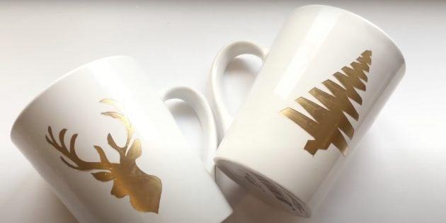 Подарки на Новый год своими руками: декорированная кружка