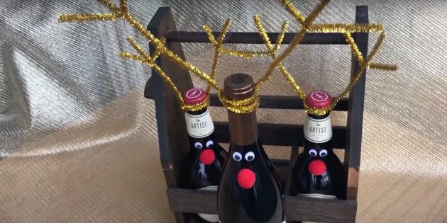 Новогодние подарки своими руками: декорированные бутылки