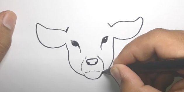 Как нарисовать оленя: сделайте шрихи от глаз к носу, соедините уши с мордочкой