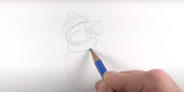Как нарисовать пингвина: наметьте шарфик