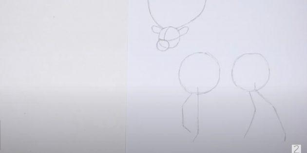 Как нарисовать оленя: наметьте задние ноги