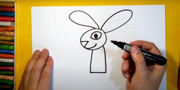 Как нарисовать зайца: нарисуйте глаз, нос и улыбку