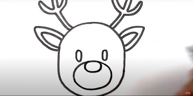Как нарисовать оленя: нарисуйте глаза и нос