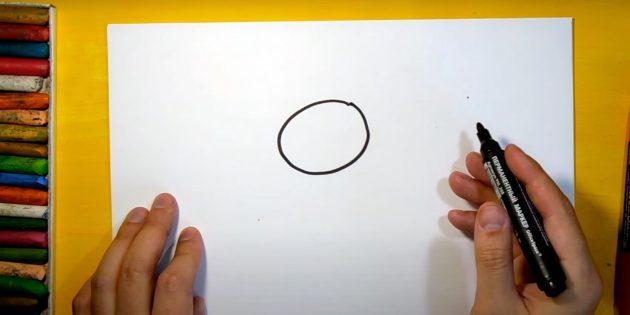 Как нарисовать зайца: наметьте голову