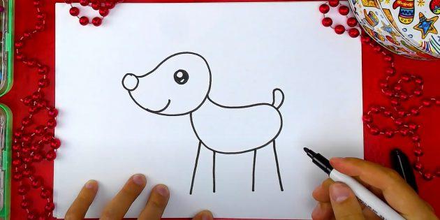 Как нарисовать оленя: нарисуйте ножки