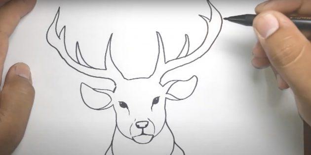 Как нарисовать оленя: нарисуйте рога и соедините их линией
