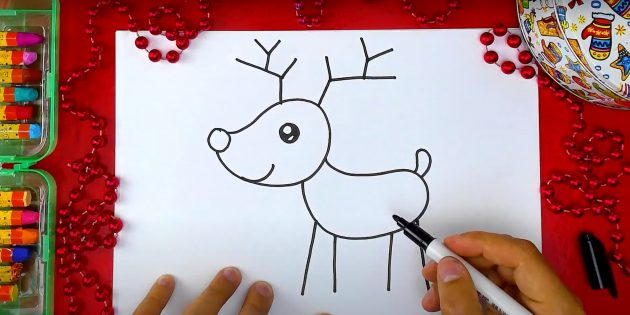 Как нарисовать оленя: нарисуйте рога