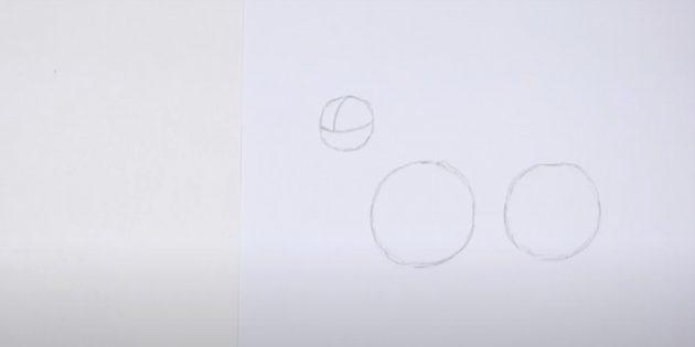 Как нарисовать оленя: нарисуйте третий круг с линиями внутри