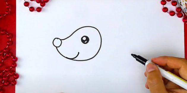 Нарисуйте улыбку оленя