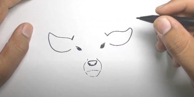 Как нарисовать оленя: обведите нос и рот линией, нарисуйте уши