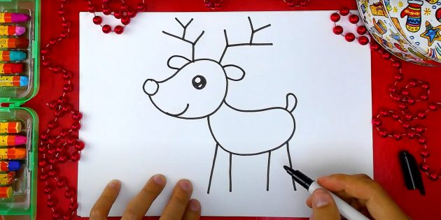 Как нарисовать оленя: изобразите уши