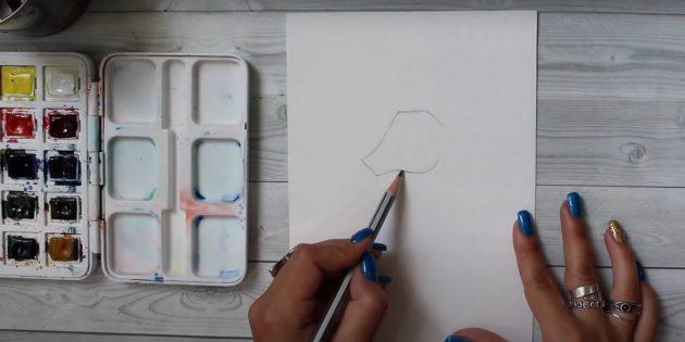 Как рисовать оленя: наметьте носик и щёчку