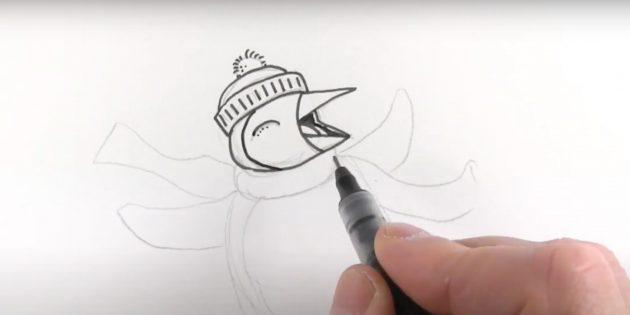 Как нарисовать пингвина: обведите контур головы