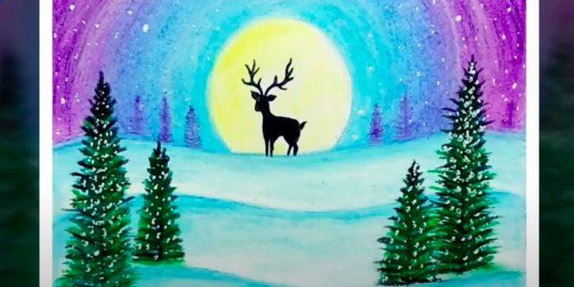 Как нарисовать зимний пейзаж с оленем