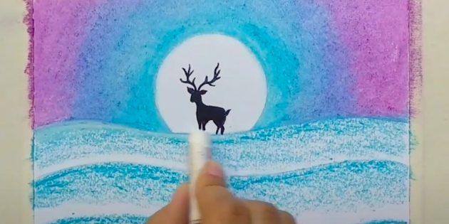 Как нарисовать зимний пейзаж: раскрасьте сугробы