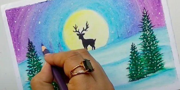 Как нарисовать зиму: нарисуйте снег