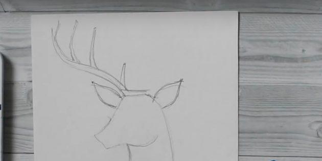 Как рисовать оленя: добавьте на рог ответвления