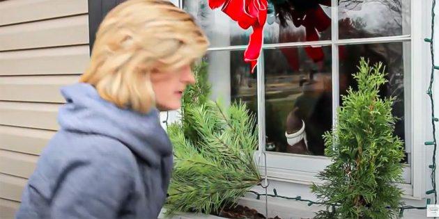 Новогодние украшения на окна: прикрепите хвойные ветви