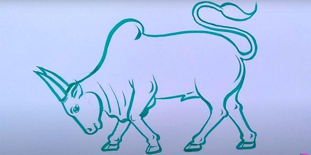 Как нарисовать быка в движении