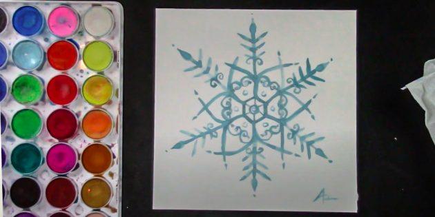 Как нарисовать снежинку красками