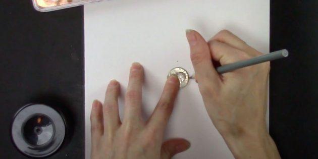 Как нарисовать снежинку: обведите монету