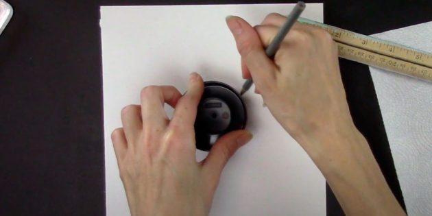 Как нарисовать снежинку: обведите крышку