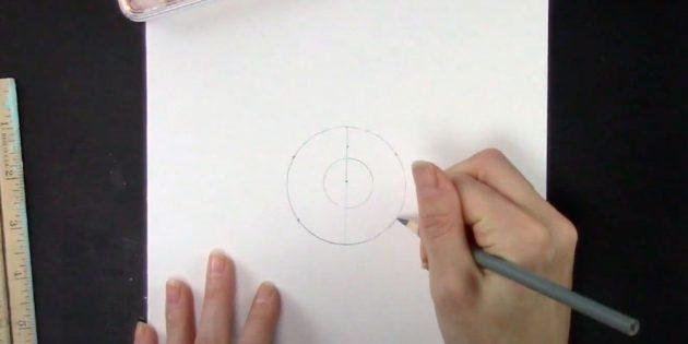 Как нарисовать снежинку: наметьте точки
