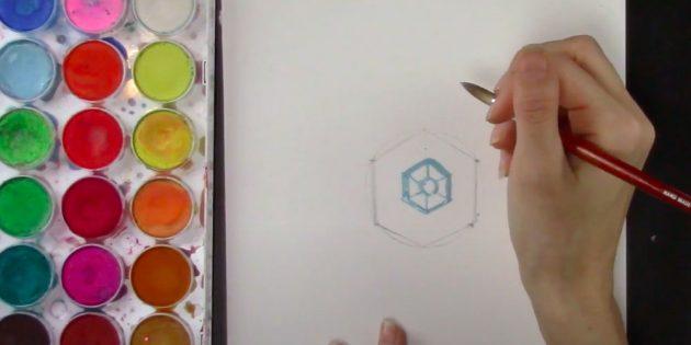 Как нарисовать снежинку: начните рисовать красками середину