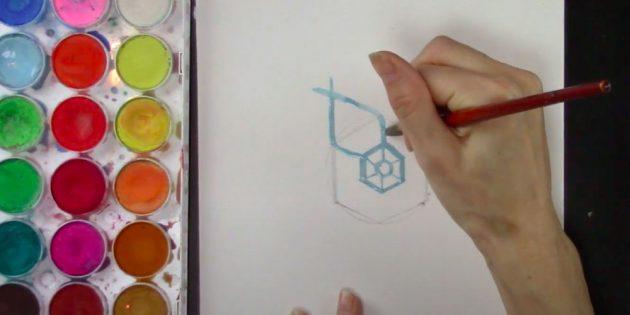 Каждый отрезок продлите к углу большого шестиугольника