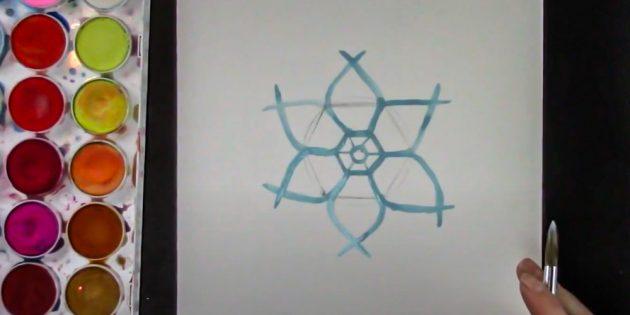 Как нарисовать снежинку: прорисуйте всю фигуру