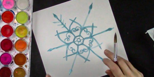 Как нарисовать снежинку: украсьте лучи